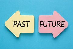 Past and Future Concept. Past and Future written in paper arrows on blue background. Business concept. Top view royalty free stock photography