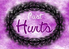 Past Hurts Sign Poster Spikes Frame. Typographic sign with the message Past Hurts spikes border frame Royalty Free Stock Image