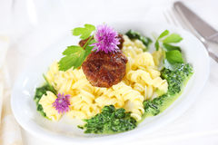 Past with meatball and spinach Royalty Free Stock Photo
