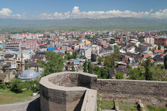 Past and modernity. This is a view of Erzurum city from the citadel. Erzurum is located in east part of Turkey Royalty Free Stock Image