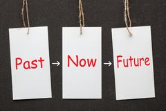 Past Now Future. Past, now and future words written on paper labels set on black background. Business concept stock images