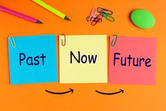 Past, Now and Future. Words on notes pasted on orange background and office supplies. Business concept stock photo