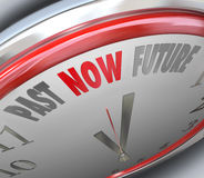 Past Now Present Future Time Clock Forecast Today Tomorrow. Past Now Future words on a clock to illustrate present time to get work done or enjoy the moment Stock Photos