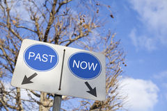 Past Now. Past and now words on road sign Stock Images