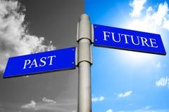 Past och framtida signpost arkivfoto