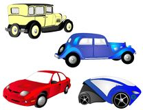 The past, present and future of automobiles. From the old to the new, cars,  in red, blue and yellow, grow, as we need more transportation, economical and Stock Photo