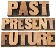 Past, present, future. A collage of isolated words in vintage letterpress wood type printing blocks Stock Photography