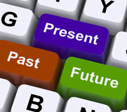 Past Present And Future Keys Show Evolution Or Aging. Past Present And Future Keys Showing Evolution Or Aging Royalty Free Stock Image