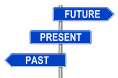 Past Present Future sign. Past Present Future traffic sign on a white background Stock Photography