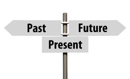 Past, Present and Future sign. Conceptual picture of a signpost with past, present and future isolated on white background (all signs cleaned on grey Stock Images
