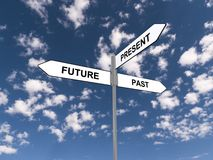 Past present and future sign. Low angle view of a past, present and future road sign with blue sky and cloudscape background Stock Image