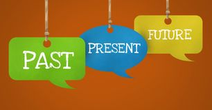 Past Present Future text on hanging paper speech bubbles. Digital composite of Past Present Future text on hanging paper speech bubbles Royalty Free Stock Image
