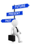 Past Present Future traffic sign with 3d person. On a white background Stock Photography