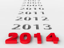2014 past. Represents the new year 2014, three-dimensional rendering Stock Illustration