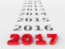 2017 past. Represents the new year 2017, three-dimensional rendering Stock Photography