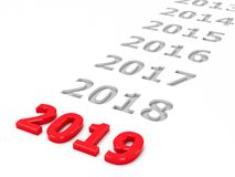 2019 past #2. 2019 past represents the new year 2019, three-dimensional rendering, 3D illustration royalty free illustration