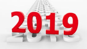 2019 new year on the past #3. 2019 past represents the new year 2019, three-dimensional rendering, 3D illustration vector illustration