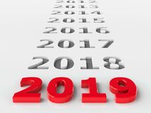 2019 past. Represents the new year 2019, three-dimensional rendering, 3D illustration Royalty Free Illustration