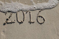 2016 past rok podpisuje na plaży Zdjęcie Royalty Free