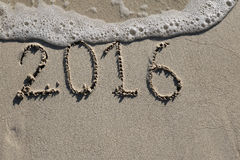 2016 past rok podpisuje na plaży Zdjęcia Stock
