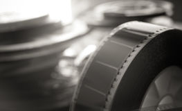 Past time movie symbol, 35 mm film reel evocative objects Royalty Free Stock Photo