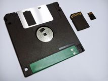 From past to present the diskette ,SD card, Micro SD card Stock Photo