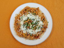 Pasta. Dish filled with spaghetti with tomato sauce and grated cheese royalty free stock photography