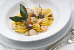 Pasta. With seafood sauce and herbs Royalty Free Stock Image