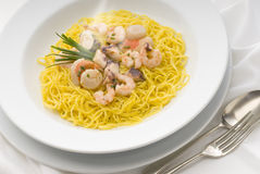 Pasta. With seafood sauce and herbs Royalty Free Stock Photo