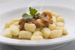 Pasta. Gnocchi with bolognese sauce plate Stock Photo