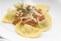 Pasta. Filled with Bolognese sauce and herbs Stock Photos