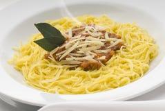 Pasta. Shrimp stuffed pasta with basil sauce Stock Photography