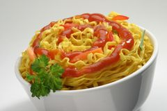 Pasta. With ketchup on a plate Stock Photo