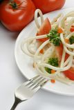 Pasta. Vermicelli with tomatoes on a plate Stock Photo