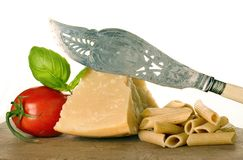 Pasta. Ingredients with cheese and tomato Stock Image