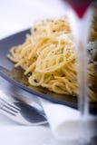 Pasta. Italian pasta and red wine Stock Photo
