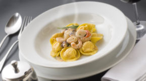 Pasta. Exquisite and wonderful pasta dish  with seafood sauce Royalty Free Stock Photo