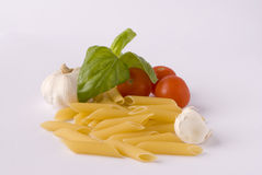 Pasta. With tomatos and basil Stock Photo