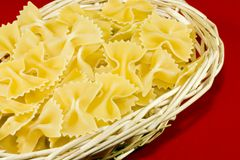 Pasta in basket Royalty Free Stock Photography
