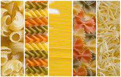 Pasta. Various types of pasta creating collage stock photography