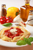 Pasta. Fresh pasta is served with tomato sauce, basil and Parmesan cheese royalty free stock images