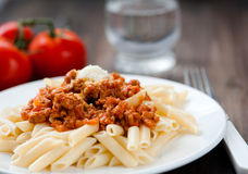 Pasta. With meat and tomatoes Royalty Free Stock Image