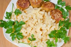 Pasta. With cheese and Meatballs royalty free stock photography