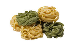 Pasta. Green and yellod, isolate on white Stock Photo