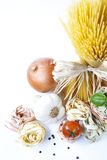 Pasta. Mediterranean cooking with pasta and ingredients stock image