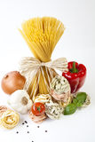 Pasta. Mediterranean cooking with pasta and ingredients stock photography