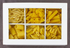 Pasta. Some different kinds of Italian pasta in a white box Royalty Free Stock Photos
