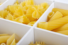 Pasta. Some different kinds of Italian pasta in a white box Stock Image