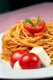 Pasta. Napoliten tomato pomodoro mozzarella Stock Photo