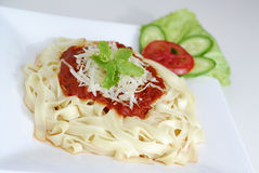 Pasta. A Platter Of Pasta with Meatsauce Royalty Free Stock Photo